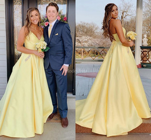 Arabric Yellow Prom Dresses 2019 V-Neck A Line Sweep Train Black Girl Abiti occasioni speciali Abiti da sera Formale Party Abiti