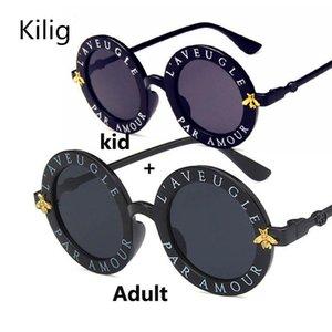 Kilig Retro Round Sunglasses Women 2019 Brand Designer Bee Vintage Kid Sun Glasses Boys Girls New Parent-Child Suit Uv400 frlDm