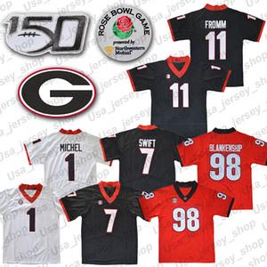 NCAA Georgia Bulldogs 11 Jake Fromm 7 DANDRE Swift 1 Michel Negro Rojo Blanco UGA Rose Bowl jerseys de 150º