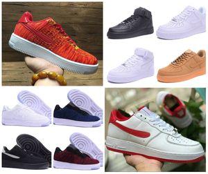 2019 zapatos de los hombres baratos Fuerzas monopatín mínimo de un 1 unisex de punto Euro aire de alta obligado a las mujeres Todo Triple Blanco Rojo Negro Deportes zapatillas de deporte