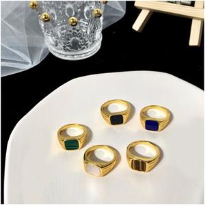 Новый простой стиль квадратный квадрат большая ширина символики женские кольца титановые стальные пальцы Multi цветов женский роскошный человек бренд ювелирных изделий для женщин с коробкой