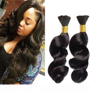 8A Peruvian Loose Wave Hair 3Pcs Bulk Hair For Braiding Loose Curly Human Braiding Hair Bulk Natural Black Color