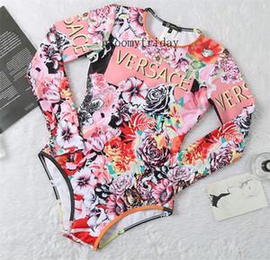Версия для печати Роза Купальник розовый Мода Logos Консервативная Купальники Довольно Солнцезащитный с длинным рукавом Swimwear V Letter Печать