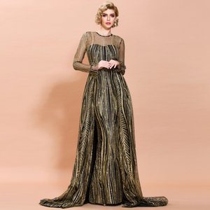 Arabic Mermaid Evening Dresses With Overskirt O Neck Long Sleeve Sweep Train Sequined Illusion Women Formal Prom Party Gowns In Stock Cheap