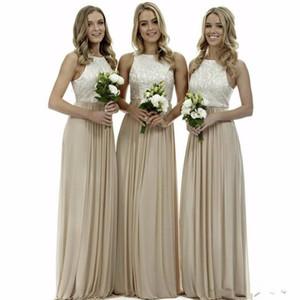elegantes damas de honor largas sencillo vestido 2020 nueva joya de la gasa de un vestido de novia de línea de invitados para la fiesta vestido de festa