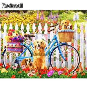 Diamond Painting Bicycle Dog Cross Stitch Kits Diamond Embroidery Scenery Full Square Rhinestones Pictures Gift Home Decor TT469