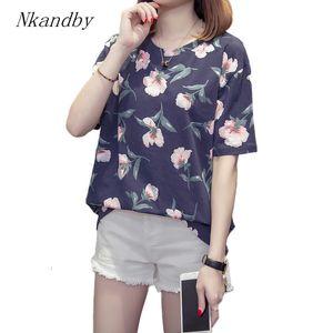 tamaño Nkandby además de impresión floral Camisetas 2019 mujeres del verano de manga corta de algodón de bambú de gran tamaño Ronda básico Tops L-4XL T