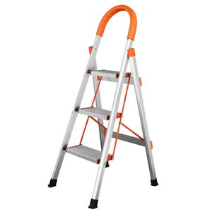 비 슬립 3 단계 알루미늄 사다리 접이식 플랫폼 의자 330lbs 적재량 오렌지