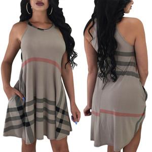 Frauen Plaid Print Mini Kleider Sommer überprüft gedruckt ärmellose Taschen hohe Taille asymmetrischen Saum über dem Knie Jumper Tageskleider