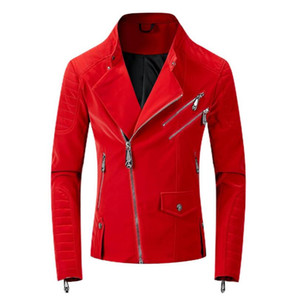 2020 Leather Red Jackets Men High Street Style Turn-down Neck Streetwear Mens PU Jackets and Coats Casacas Para Hombre w828