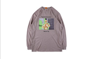 2019 Kanye 웨스트 X Pornhub 라일 리드 티 중유 페인트 시리즈 긴 소매 티셔츠 소매 티셔츠 긴 소매 티셔츠 남자와 여자