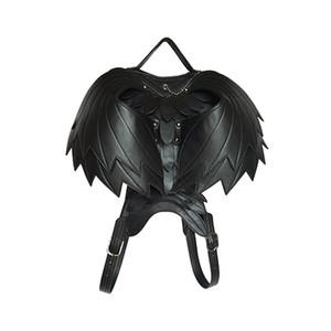 Kanat Punk Deri Sırt Çantası Kadın Koyu Moda Çanta Erkekler Siyah Hayalet Canavar Retro Omuzlar Çanta Gotik Serin 3D Sırt Çantaları