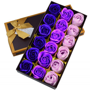 18Pcs Artificial Rose Floral Bath Soap Rose Flower Petals with Gift Box for Women Girl Birthday Anniversary Wedding Valentines Day