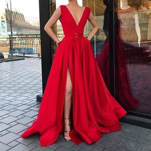Сексуальные V-образным вырезом A-Line Вечерние платья с высоким разрезом и без рукавов Выпускные платья для вечеринок Формальные 2019 vestidos Новое поступление
