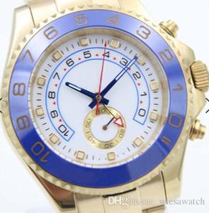 44MM Bracelet d'or en acier inoxydable mécanique automatique Montre Homme Montres Montre Lunette tournante bi-directionnel bleu mains 116688 Index Heure Marqueurs