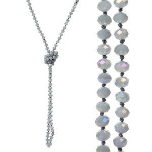 8mm langer Strand geknotete facettierten Glasperlenketten Sparkly Handgemachte Multi Layer Strand Statement Ketten mit Knoten zwischen jeder Perle