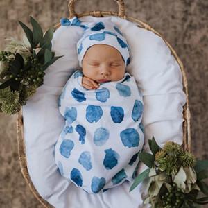 INS Новорожденный ребенок хлопка спальный мешок Knotted Cap 2pcs / набор мальчиков Младенческая Девочки Мальчики Цветочные Dinosaur мультфильм Пеленание Wrap сумка + Hat SuitsCZ309
