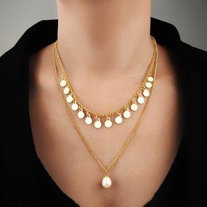 Nova venda quente multi-camada colar de jóias ondulada borla colar feminino boémia personalidade pérola pingente colar