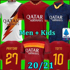 As roma soccer jersey football shirt maillot de foot romain DZEKO PEROTTI PASTORE ZANIOLO rome 2020 TOTTI maillots 20 21 uniformes de maillots de football DE ROSSI de la equipe