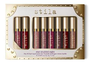 NUEVO juego de lápiz de labios líquido Stila Star-studded Eight Stay All Days, 8 piezas * 1.5 ml / caja de larga duración, cremoso brillo, lápiz de labios líquido.
