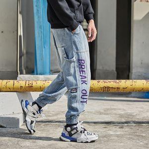 Fashion Streetwear Men Jeans Blue Color Loose Fit Embroidery Designer Harem Jeans Denim Cargo Pants Hip Hop Joggers Men
