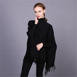 Suéteres de mujer otoño invierno brillo brillante colores puros espesado turno-collar batwing nueve puntos manga fácil tassel suéter caliente inglaterra st