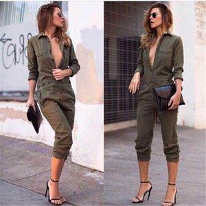 Seksi Kadınlar Yeni Moda İnce BODYCON Tulum Uzun Kollu Yeşil Ordu Katı Casual bodysuit Bayanlar Vintage Romper Uzun Jumpsuit