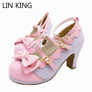LIN KING Big Size Spring Lolita Girl Candy Color Comfortable Shoes Bowtie Cross Straps Waterproof High-heel Cosplay Women Shoes Y200702