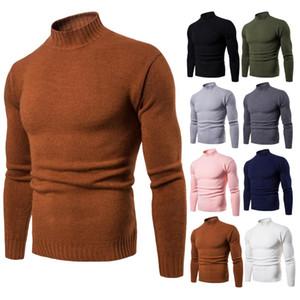 2020 가을 겨울 새로운 남성 터틀넥 슬림 피트 바닥으로 셔츠 단색 니트 스웨터 남성 S 니트