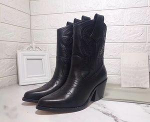 Le donne scarpe occidentale del cowboy Stivaletti inverno di modo lucido Stivaletto in pelle ricamo di buona qualità