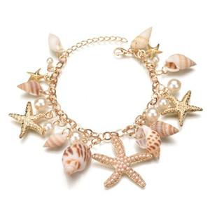 Nueva moda Multi Starfish Sea Star Conch Pearl Shell Cadena brazalete regalo