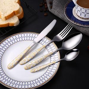 Lemeya 24 pièces / Set plaqué or en acier inoxydable Couverts dîner Couteau Steak fourchette cuillère Western Art de la table des aliments Flatware Sets T191014