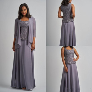 Silver Gray Lace Chiffon Mother Of the Bride Dresses with Long Sleeve Jacket 2019 Plus Size Women Three Pieces Evening Formal Gown