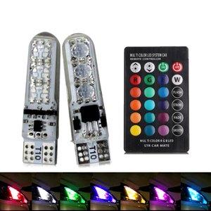 RGB LED T10 del coche del bulbo W5W 194 Liquidación luces de techo lámpara de lectura bombillas SMD5050 de silicona con coches de control remoto luz decoración