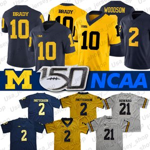 Michigan Wolverines Forması Desmond Howard 10 Tom Brady 2 Charles Woodson Shea Patterson NCAA Futbol Forması