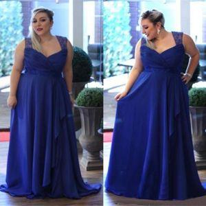 Плюс размер пользовательских сделал линию шифон выпускные платья королевские синие спагетти ремни формальные вечерние платья невесты платья матерей платье матери SD3356