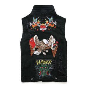 homens é legal Tang jaquetas Punk Rock Revival Jeans Casacos Jacket Motorcycle mangas denim colete desgaste dos homens dos homens bordados Phoenix Preto