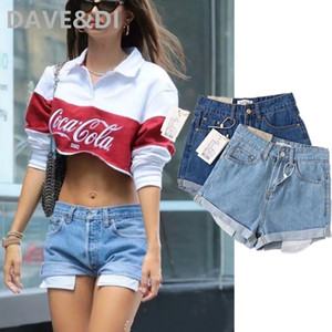 Dave&Di INS fashion blogger high street solid vintage washed show pockets loose mom denim shorts women short feminino plus size