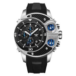 men sport watch,mens tritium watches YELANG chronograph big quartz wristwatch waterproof T100 luminous luxury military reloj T200409
