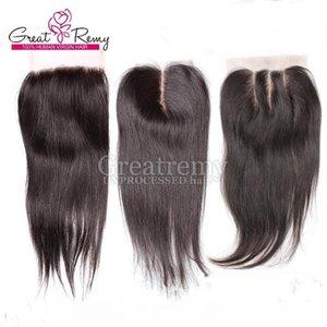 Virgin Brazilian Hair Middle Part Lace Closure With 3pcs Hair Bundles Silky Straight 4pcs lot Unprocessed Human Hair Extension Natural Color
