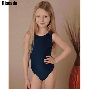 Riseado solidi Ragazze Costume intero Sport Swimwear competitivo bambini costume da bagno Racer Torna vestito di nuoto 2019 Body