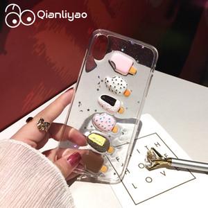 Mytoto Qianliyao Güzel 3D Yaz Dondurma Telefon Kılıfı Için iPhone 6 6 S 7 8 Artı X XS XR XS Max Durumda Glitter Toz Yumuşak TPU Arka Kapak