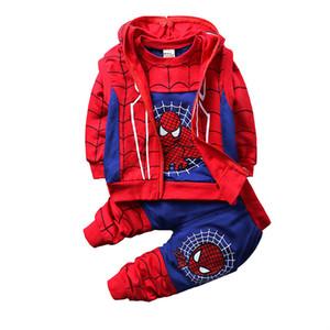 Garçons Super-héros Tenues 2019 nouveaux enfants Avenger cosplay Cartoon Zipper Sweats à capuche manteau + T-shirt + Pantalons 3pcs / ensembles Vêtements pour enfants M849