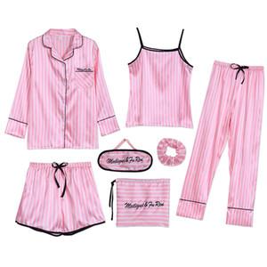 Sleepwear 7 Pezzi Pajama Set 2019 Donna Autunno Inverno Estate pigiami sexy degli insiemi del sonno morbida sveglia dolce da notte regalo Home Abbigliamento