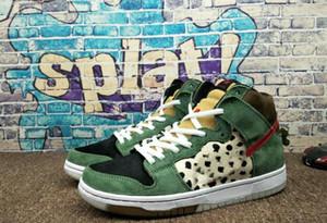 2020 SB explosión Nike SB Dunk High Dog Walker zapatos Negro Verde Trainer alta calidad de los hombres del diseño de marca de las zapatillas de deporte, tamaño 40-45