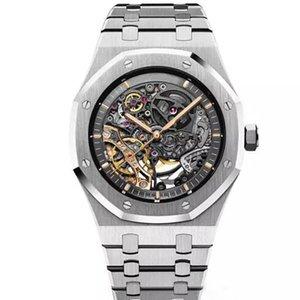 럭셔리 시계 남성 더블 밸런스 휠 오픈 워크 시계 해골 스테인레스 스틸 블랙 자동 남성 시계 다이얼