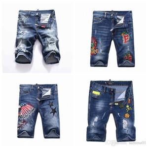 19ss hombres desgastados desgarrados flaco Jeans diseñador de moda para hombre Jeans delgado Moto Biker Causal para hombre pantalones de mezclilla pantalones cortos de Hip Hop DN05