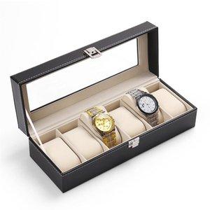 Pelle 5 griglie Guarda scatole cassa dell'unità di elaborazione di sicurezza LISCN supporto della vigilanza Caja Reloj nero Boite Montre gioielli regalo 2018