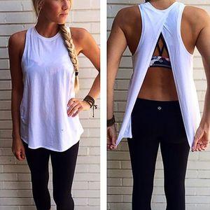 Camiseta sin mangas atractivo de inclinarse hacia atrás flojo trasero parcial algodón chaleco delgado transpirable Eyes2