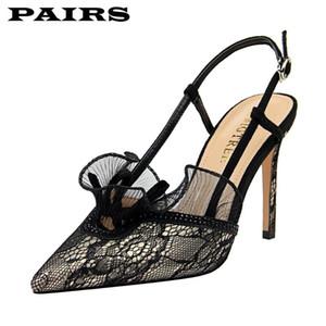 Scarpe Donna Alta estate della maglia Heel Sandals Cinturino donna Point Toe Shoes Point Sexy Lace le dita dei piedi sottile tacco Calzature nere Taglie 43